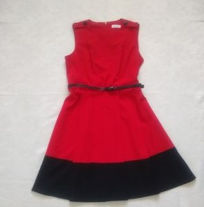 Calvin Klein red pleats belted dress fit & flare